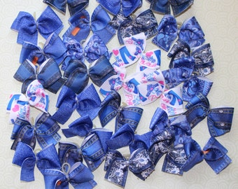 30 small dog bows all denim print dog bows - blue jeans dog bows!!
