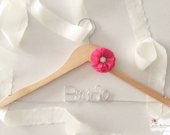 BRIDE Wedding Dress Hanger with Hot Pink Fuchsia Chiffon Decoration