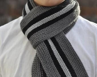 Knitted Striped Youth Scarf - Gray Stripe