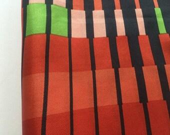 JoAnn Silk Scarf Op Art Pattern Red Black Orange Green Gold Border Made in Japan