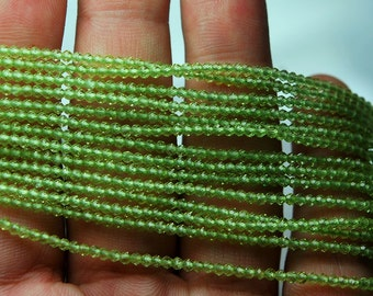 13 Inches, AAA Quality Super Finest Cut Peridot Faceted Rondelles, Natural Stones 2.25mm