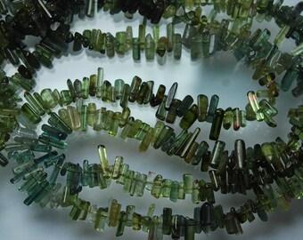 14 Inches, Green Tourmaline Stick Strand 8-15mm