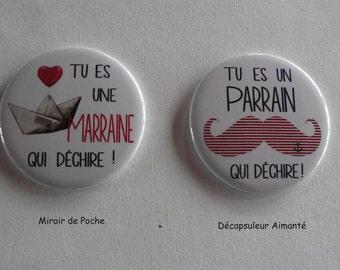 """Duo Cadeau Parrain Marraine """" qui déchire """" Décapsuleur Aimanté Miroir de Poche ."""