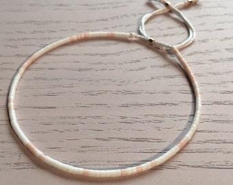 Fine Bead Bracelet, White & Light Pink Bead Stack Bracelet, Friendship Bracelet, Gift for her, Best friend gift