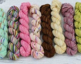 LAST SET!!  Mini Skeins - Hand Dyed - Superwash Merino - Treadsoft  Fingering Weight Yarn