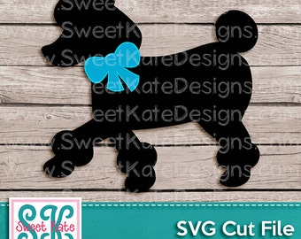 Poodle with Bow Dog SVG JPG PNG {Scrapbook Die Cut or Heat Transfer Vinyl Cut} Cricut Silhouette Instant Download - Sweet Kate Designs