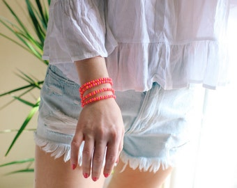 Neon Glass Beaded Bracelet