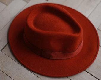 Vintage terracotta womens fedora hat