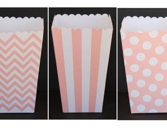 "SALE, 12 Baby Pink/Peach  Popcorn Boxes- Treat Boxes - Party, Birthday and more ""Same Day Shipping"""