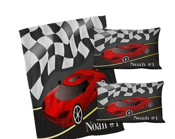 Personalized Race Car  Duvet Cover Set  Twin Queen or  King