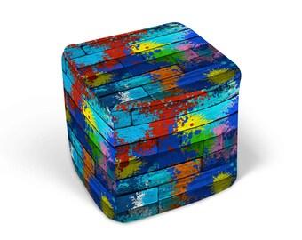 Salpicaduras de colores PUF cubo banqueta reposapiés pintura imitación madera