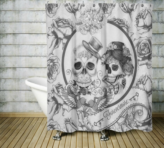 Sugar Skull Shower Curtain ,Forevermore Black and White, Gothic, Day Of The Dead , Master B								<a href=