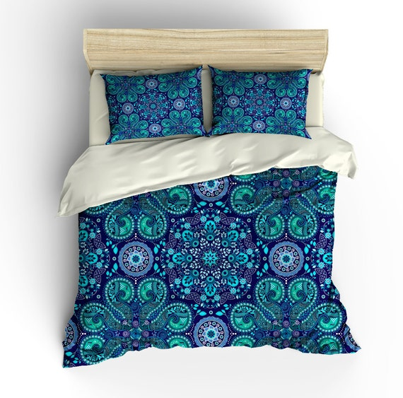 boho chic bedding duvet cover set purple teal by folkandfunky. Black Bedroom Furniture Sets. Home Design Ideas