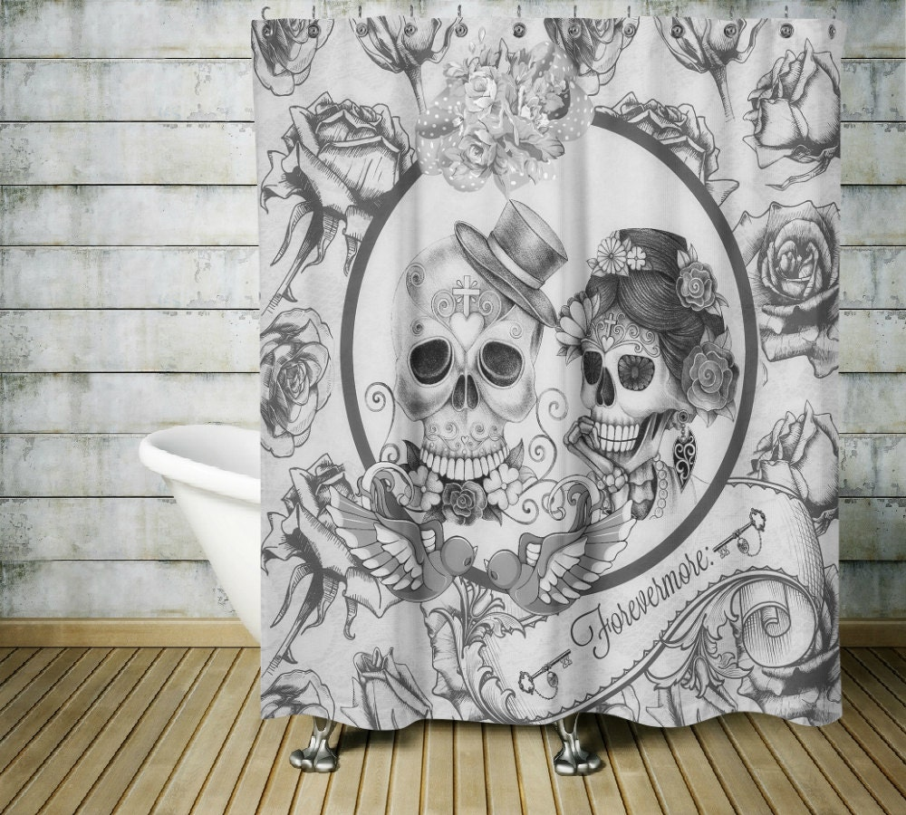 Sugar Skull Shower Curtain Forevermore Black and by FolkandFunky