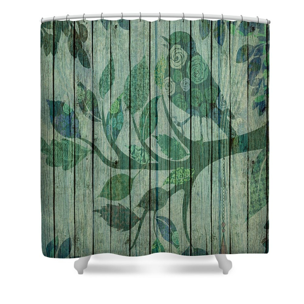 shower curtain rustic primitive wood look bird by folkandfunky