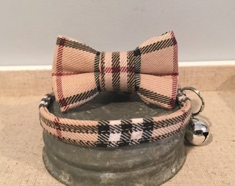 Cream Plaid Cat Collar with Optional Bow Tie