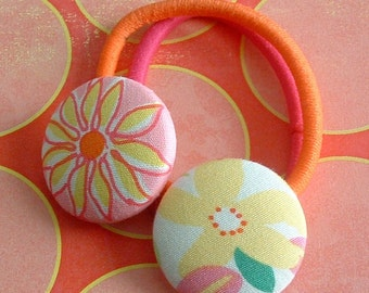 Yellow flowers button Ponytail Hair Ties