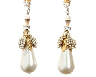 Miriam Haskell long drippy faux pearl earrings