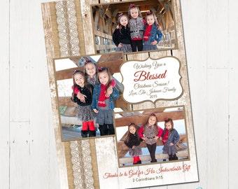 3 photo Christmas card, Photo Christmas Card, Personalized Christmas Card, rustic christmas card, burlap, lace, printable christmas card