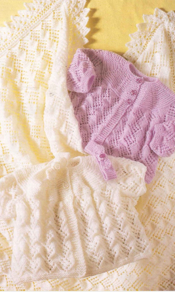 Baby Shawl Coats and Headband Knitting Pattern PDF instant