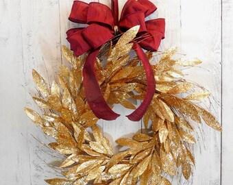 Christmas wreath, Holiday door wreath, Elegant holiday wreath, Red and gold, Wreaths for Christmas, Storm door wreath, Holiday decor, Gold