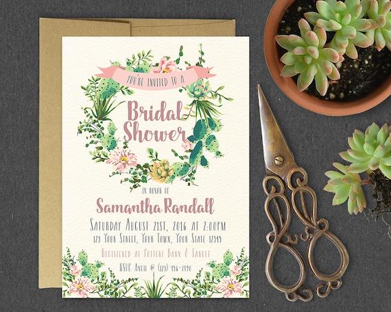 succulent bridal shower invitation    rustic watercolor