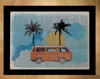 Volkswagen Bus Dictionary Art Print Retro Vanagon Westfalia Camper Van Camping Orange Travel Wall Art da956