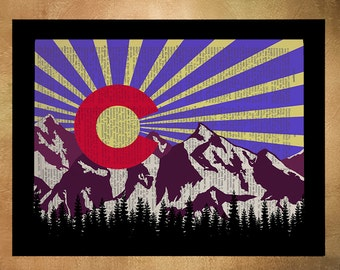 Colorado Flag, Dictionary Art Print, Colorado Art, Boulder Denver, Colorado State Flag, Home Decor, Wall Art da327