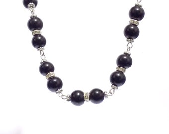 pearl necklace, black pearl necklace, black necklace, black jewelry, pearl jewelry, pearl choker, link pearl necklace, bridesmaide necklace