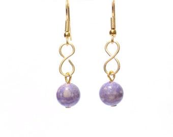 Purple earrings, Infinity earrings, gold infinity earrings, earrings, purple dangle earrings, purple gemstone earrings, infinity jewelry