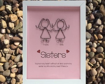 Personalised Wire Sister Picture - Unique Handmade Gift for a Sister