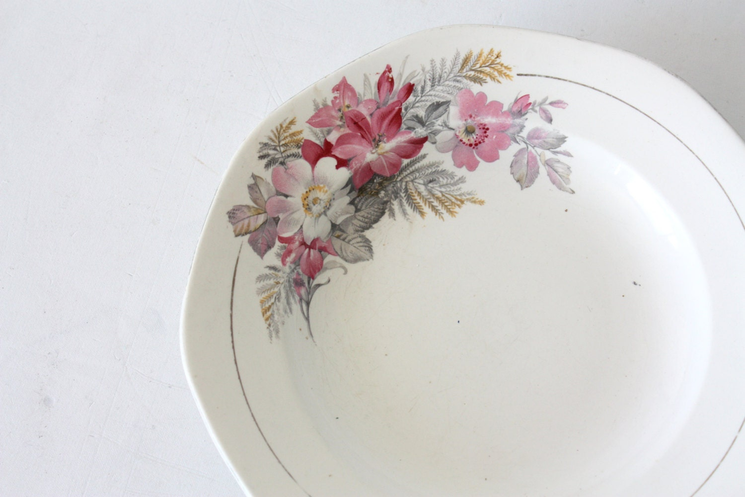One mismatched old white pink flowers French plate Sarreguemines ...