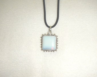 CLEARANCE - Square shaped Opalite pendant necklace (P013-7)
