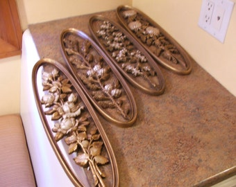 Set of Four (4) Vintage 1960s Burwood Products Plastic Flower wall hanging art