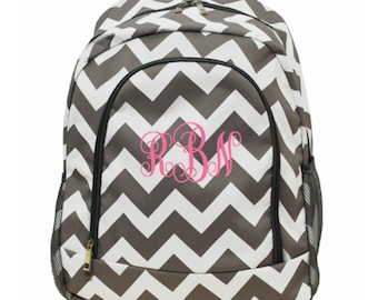 Child's Backpack / Personalized Backpack / Grey Chevron / Girls Personalized backpack / Great for school backpack / monogrammed backpack