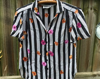 80s vintage FLOWERS AND STRIPES top, virgo sheer button up blouse