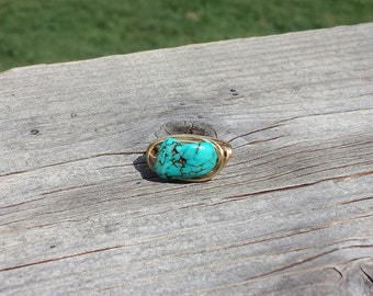 Boho wire wrapped turquoise ring