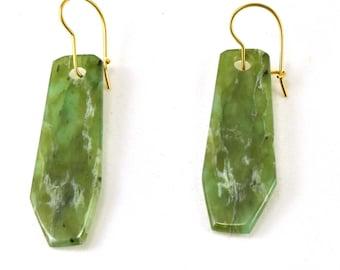 Nephrite jade earrings, handmade earrings, 14kt gold ear wires