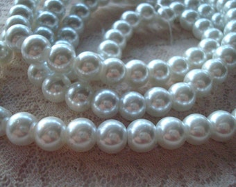 "SALE! 8mm White Glass Pearls. 50 or 104pcs . Full 15"" or Double 32"" Strand. ~USPS Standard Ship Rates from Oregon."