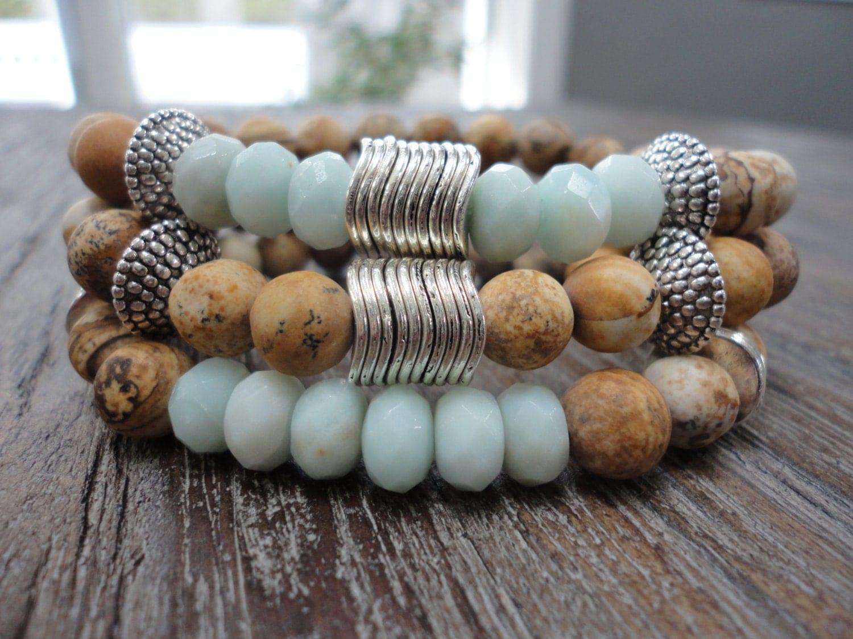 Gemstone Stacking Bracelets/Picture Jasper/Amazonite/Silver/Boho Stack