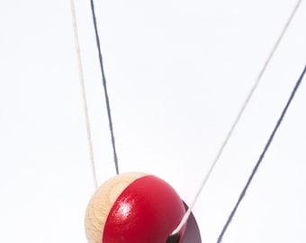 Pokéball - Geometric Wooden Bead Necklace Red / Neon Orange