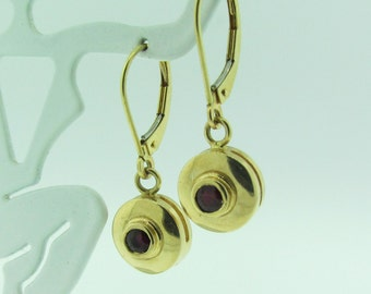 Gold and Ruby Dangle Earrings