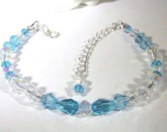 Sky Blue and Clear Swarovski Bracelet with Lobster Clasp