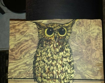 Cute owl painting on wood