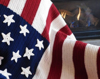 American Flag Blanket, Handmade flag blanket,crochet afghan, crochet blanket,crochet american flag blanket, american flag,
