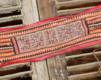 Vintage Hmong Fabric Embroidery Craft Supplies Hill Tribe Tribal Handmade
