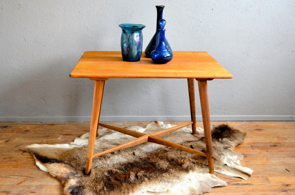 Table rustique scandinave en ch ne pi tement compas crois - Table basse scandinave annee 50 ...