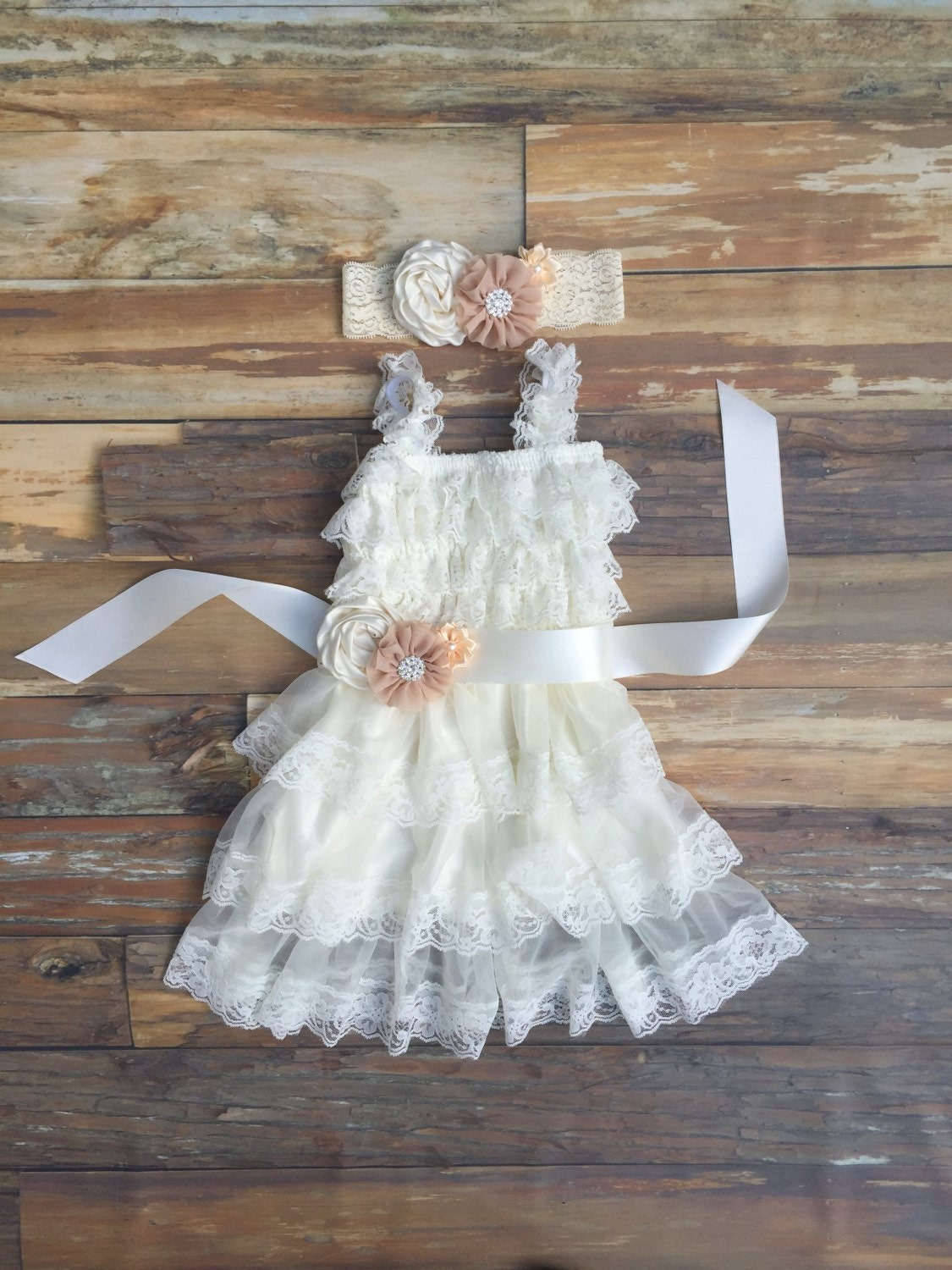 Flower girl dress ivory lace girls dress toddler lace dress