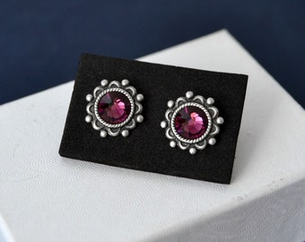 Amethyst Stud Earrings, February Birthstone, Stainless Steel Earrings, Hypoallergenic Earrings, Birthstone Jewelry, Purple Earrings