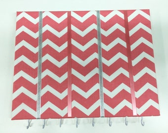 Pink Chevron Coral Chevron Hair Bow Holder Hair Bow Organizer